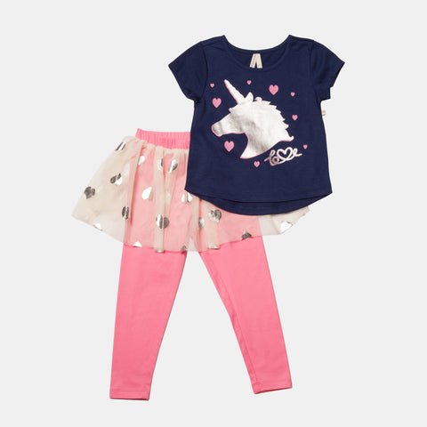 Unicorn Short Sleeve Tee and Skirted Legging Set