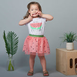 Watermelon Skirt and Glitter Tee Set