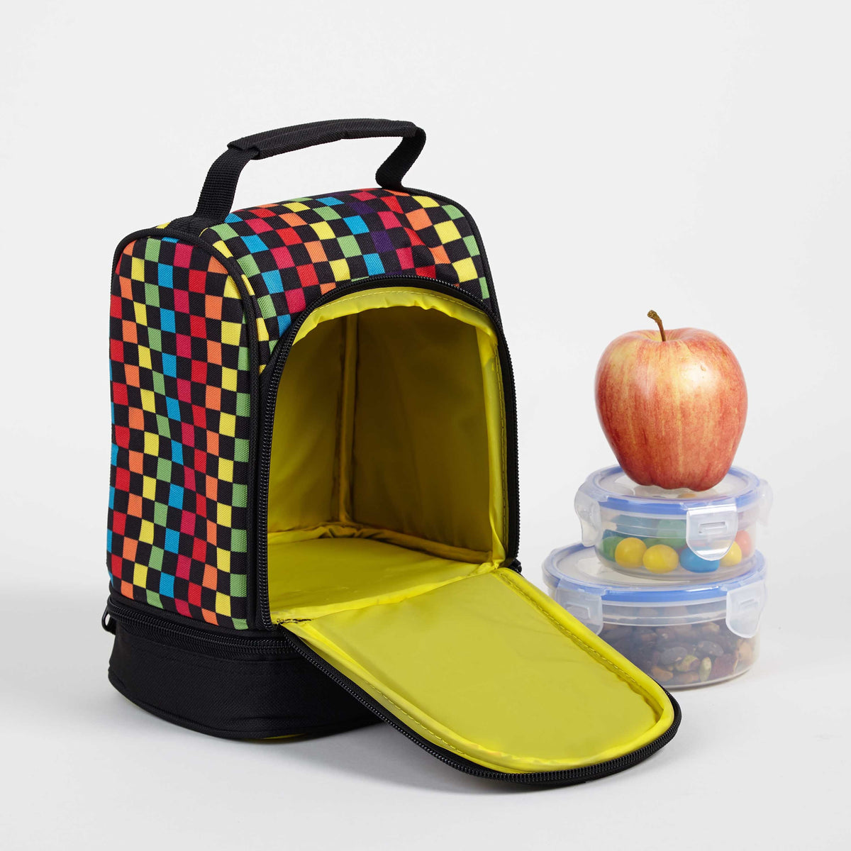 Yak Pak Rainbow Checker Lunch Bag