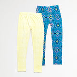 Yellow and Aztec Legging Set of 2