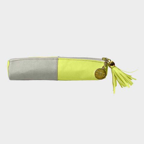 Yellow Leatherette Pencil Pouch