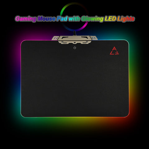 KKMOON LED Light Hard Gaming Mouse Pad USB Wired mousepad Computer Mice Mat with Anti-slip Rubber