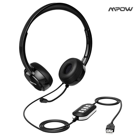 Mpow AUX Headset with Noise Reduction Sound Card, In-line Control, Protein Memory Earmuffs