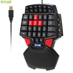 Delux T9 47-Key Professional One/Single Hand USB Wired Esport Gaming Keyboard