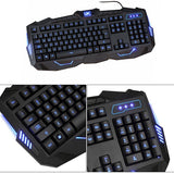 Koolertron Professional gaming backlit keyboard for gamer with 3 color backlight wired keyboard & mouse combo - Epic Buy International Inc
