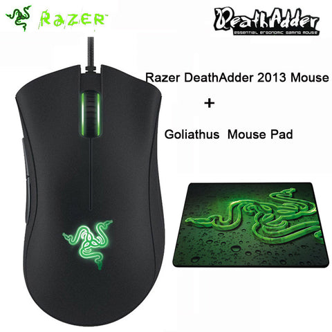 Razer Deathadder 2013 6400DPI Gaming mouse Synapse 2.0 Right Hand Game mice With Razer Goliathus Combo