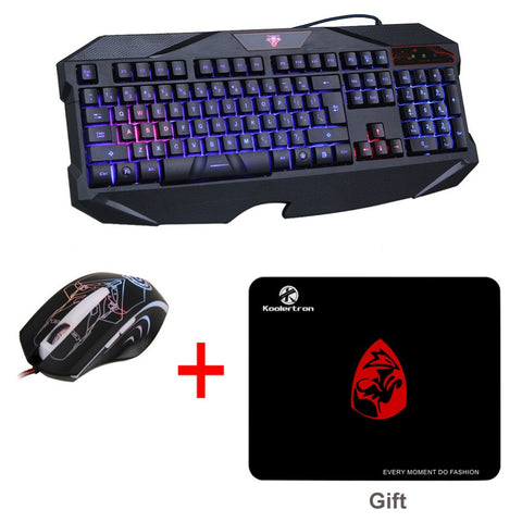 Koolertron Blue Illuminated LED Backlit USB Wired Multimedia Multi-function Gaming Game Keyboard Mouse Combo
