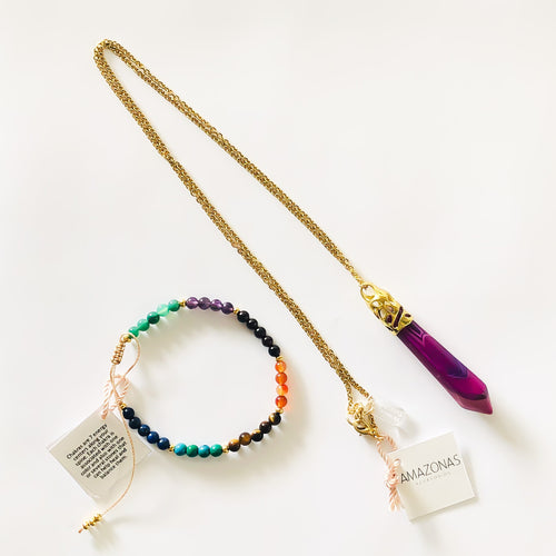 Violet Agate Necklace + Chakra Bracelet Set