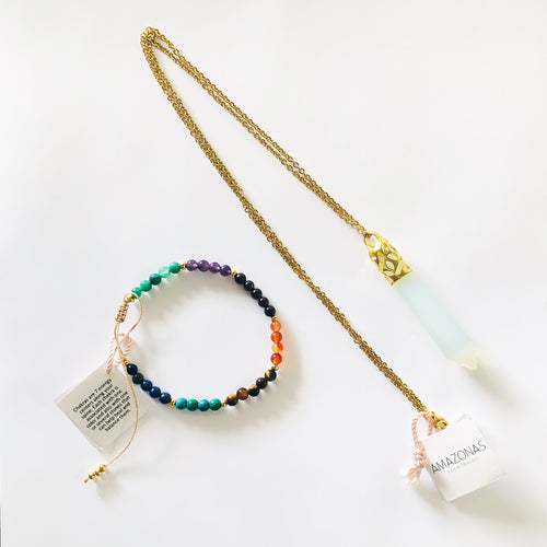Opal Necklace + Chakra Bracelet Set