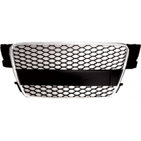 Audi A5 08-13 ABS Replacement Grille RS-Type Chrome Frame Matte Black Honeycomb Mesh-RI