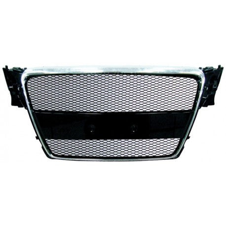 Audi A4 09-13 ABS Replacement Main Grille Chrome Frame Black Aluminum Mesh-RI