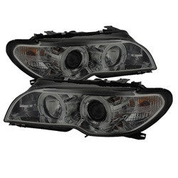 BMW E46 3-Series 04-06 2 DR Spyder Projector Headlight  -  LED Halo - Smoke