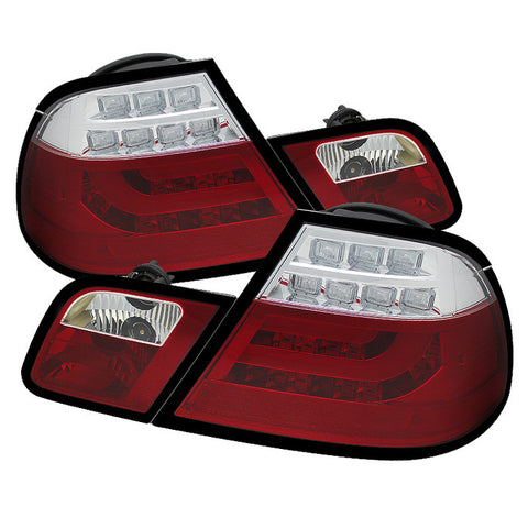 BMW E46 2000-2003 2Dr Coupe | Light Bar Spyder LED Tail Lights | Red Clear