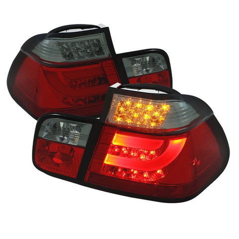 BMW E46 3-Series 99-01 4Dr Light Bar Style Spyder LED Tail Lights - Red Smoke