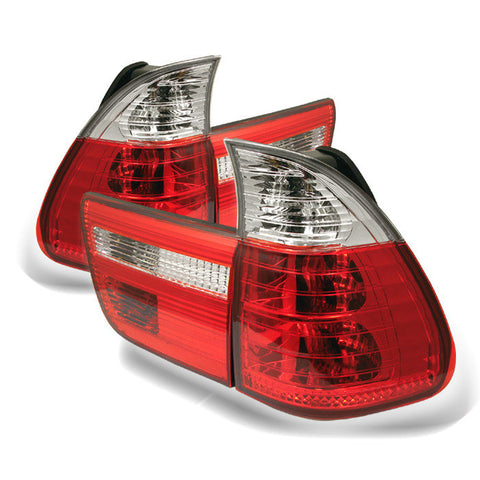 BMW E53 X5 00-06 4PCS Spyder Euro Style Tail Lights- Red Clear