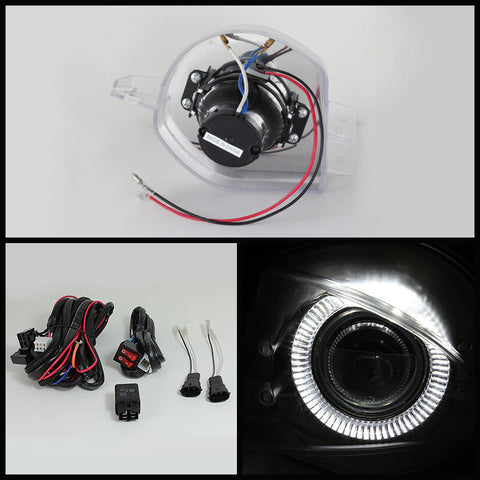 BMW E90 4dr 05-08 Halo Spyder Projector Fog Lights w/Switch - Clear