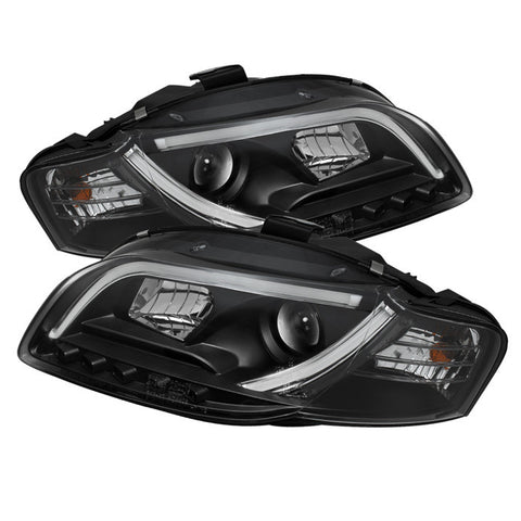 Audi A4 2006-2008 | Spyder Projector Headlights | Light Tube DRL | Black