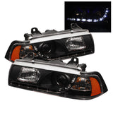 BMW E36 3 Series 1992-1998 2DR Spyder Projector Headlights | DRL | Black