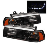 BMW E36 3 Series 1992-1998 4DR | Spyder Projector Headlights | DRL | Black