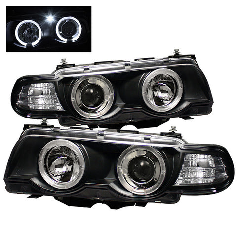 BMW E38 7 Series 1999-2001 | Spyder Projector Headlights LED Halo | Black