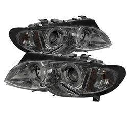 BMW E46 3-Series 02-05 4DR Spyder Projector Headlights 1PC - LED Halo - Smoke