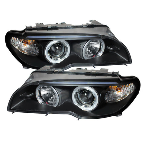 BMW E46 3-Series 04-06 2 DR Spyder Projector Headlight  - LED Halo - Black