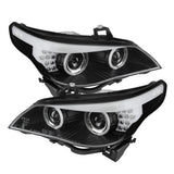 BMW E60 5-Series 04-07 Spyder Projector Headlights  - CCFL Halo - Black