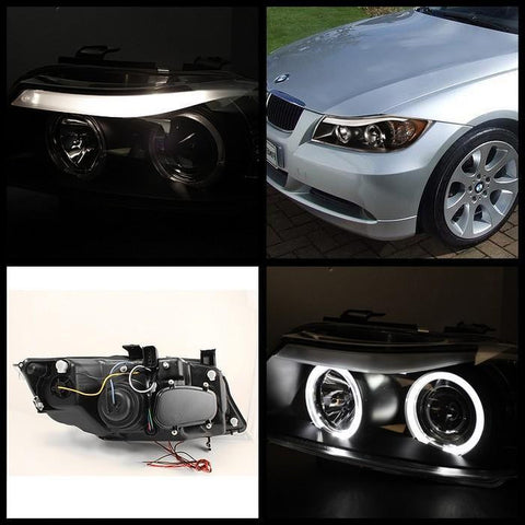 BMW E90 3-Series 06-08 4DR Spyder Projector Headlights - LED Halo - Amber Reflector - Chrome
