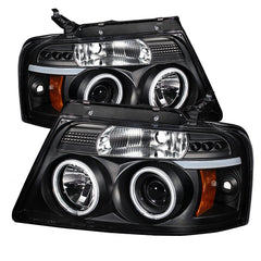 Ford F150 | 2004-2008 Projector Headlights | Spyder | CCFL Halo | Halogen Model Only | LED | Black