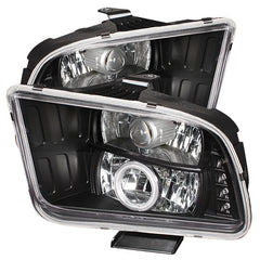 Ford Mustang 05-09 Spyder Projector Headlights - Halogen Model Only - CCFL Halo - LED - Black