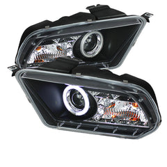 Ford Mustang 10-13 Spyder Projector Headlights - Halogen Model Only - CCFL Halo -  DRL - Black