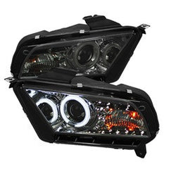 Ford Mustang 10-13 Spyder Projector Headlights | CCFL Halo |  DRL | Smoke