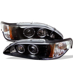 Ford Mustang 94-98 1PC Spyder Projector Headlights - LED Halo - Amber Reflector - LED - Black
