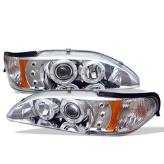 Ford Mustang 94-98 1PC Spyder Projector Headlights - LED Halo - Amber Reflector - LED - Chrome