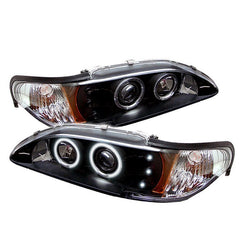Ford Mustang 94-98 1PC Spyder Projector Headlights - CCFL Halo - Amber Reflector - LED - Black