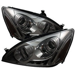 Honda Accord 03-07 Spyder Projector Headlights - LED Halo - Amber Reflector - LED - Smoke