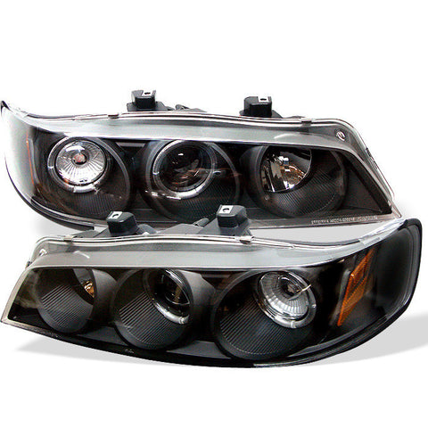 Honda Accord 94-97 1PC Spyder Projector Headlights - LED Halo - Amber Reflector - Black