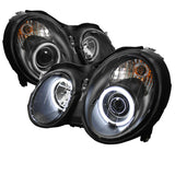 Mercedes Benz CLK 98-02 Spyder Projector Headlights  - CCFL Halo - Black