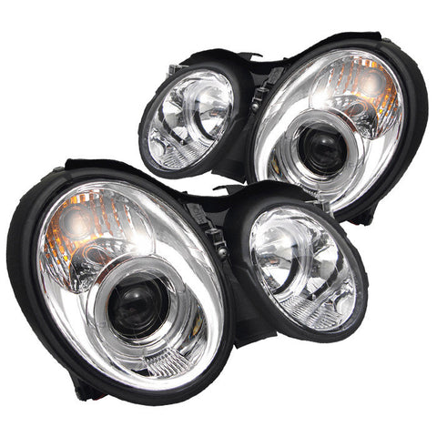 Mercedes Benz CLK 98-02 Spyder Projector Headlights  - LED Halo - Chrome