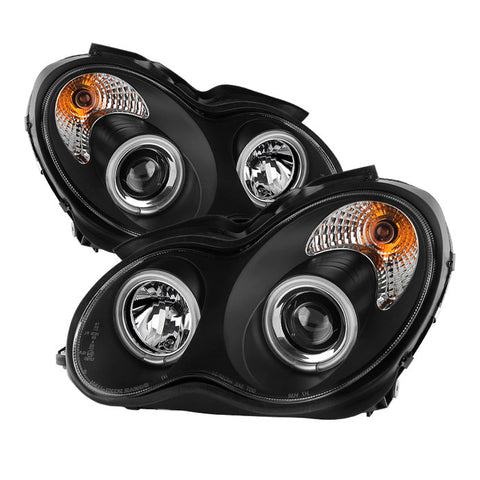 Mercedes Benz C-Class 01-05 4 Dr Only Spyder Projector Headlights  - CCFL Halo - Black