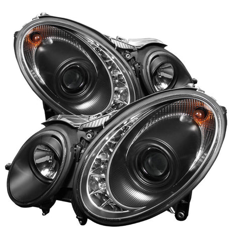 Mercedes Benz E-Class 07-09 Spyder Projector Headlights  - DRL - Black