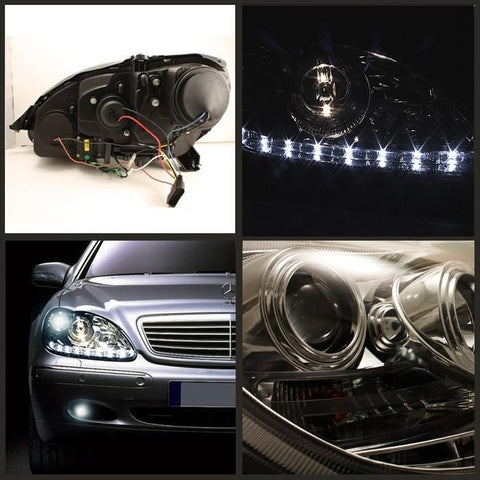 Mercedes Benz S-Class 00-06 Spyder Projector Headlights - DRL - Chrome