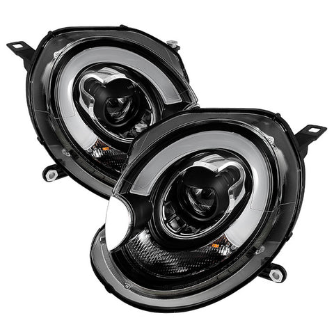 Mini Cooper 2007-2012 Spyder Projector Headlights - DRL - Black