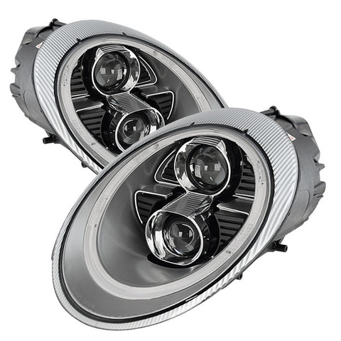 Porsche 911 997 2005-2009 Spyder Projector Headlights - DRL - LED - Silver