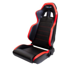 NRG Innovations | Sport Bucket Seats / Reclinable | Black PVC Leather Red Stitch Red Side Contrast
