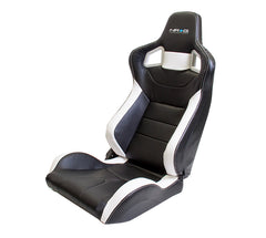 NRG Innovations | Sport Bucket Seats | Reclinable | Black  PVC Leather White Stitch / White Contrast