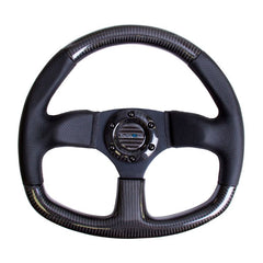 NRG Innovations | Steering Wheel | Carbon Fiber Flat Bottom Black Stitching