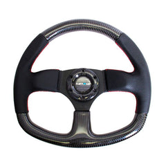 NRG Innovations | Steering Wheel | Carbon Fiber Flat Bottom Red Stitching