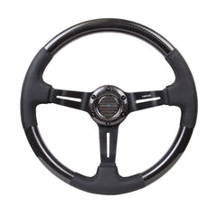 NRG Innovations | Steering Wheel | Carbon Fiber Leather Accent Deep Black Stitching