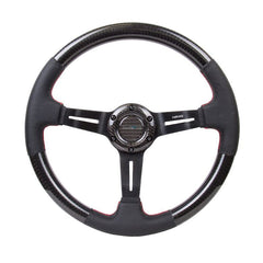 NRG Innovations | Steering Wheel | Carbon Fiber Leather Accent Deep Red Stitching